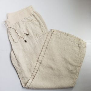 Style & Co 100% Linen Elastic Waist Wide Leg Pants